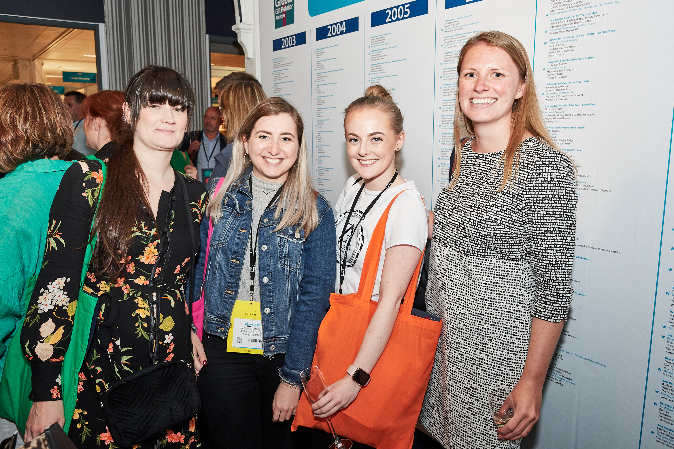 Above: Fenwick's Abigail Ball (second right) with colleague Lizzie Tillmanns (far right) and Oliver Bonas' Natalia Kosterska (second left) and Siobhain Watkins at The Retas' Drinks Reception at the show.