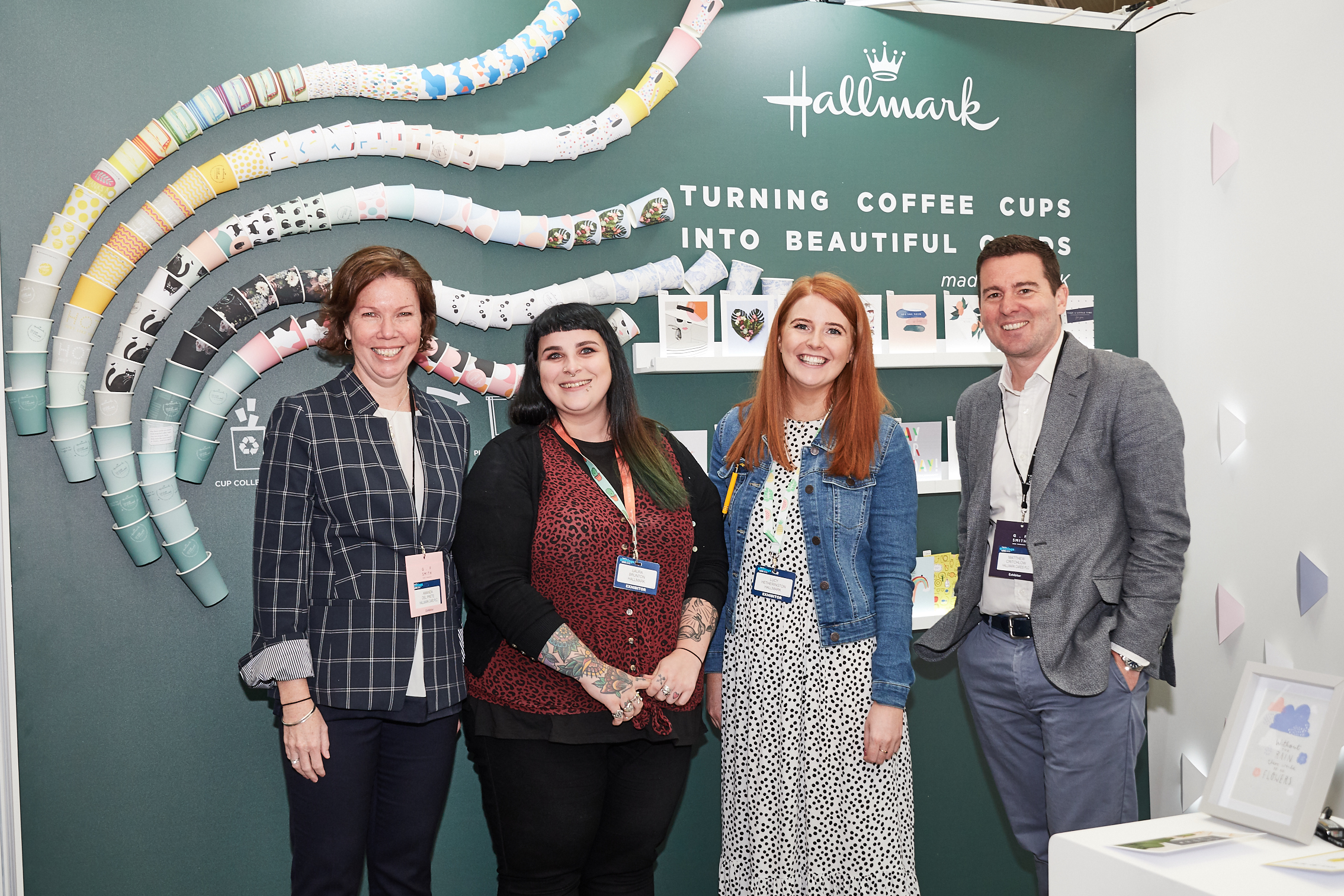 Above: (left-right) Hallmark's  Amanda Del Prete, Laura Brunton, Lucy Hethington and Matt Critchlow on Hallmark's 'Cup Cycling' stand at PG Live.