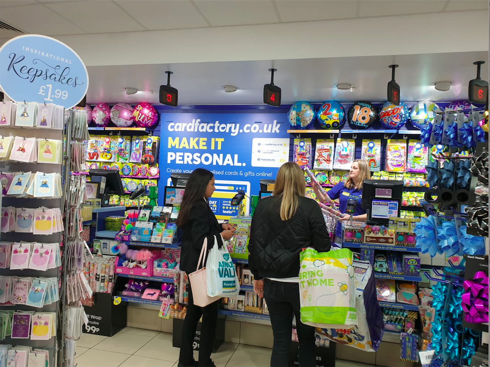 Above: Card Factory is now increasing awareness of its online offer with PoS in its stores.