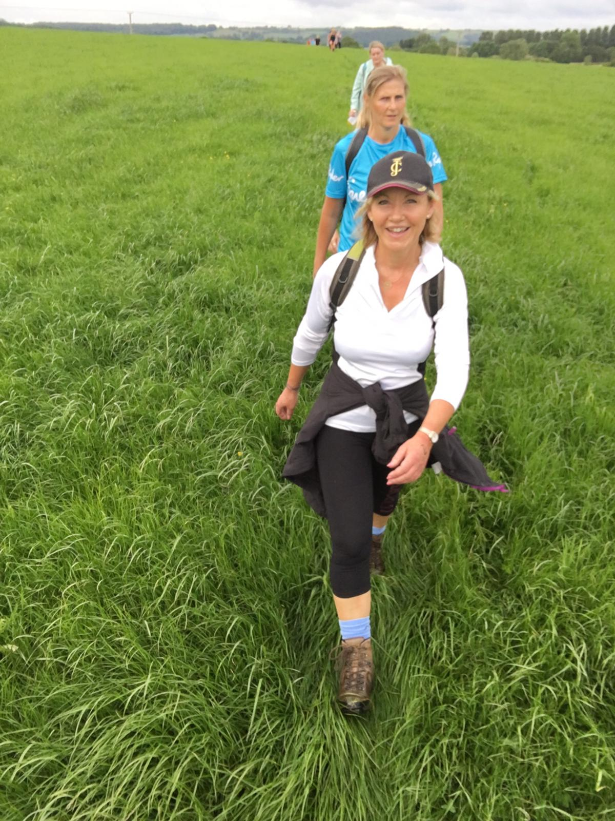 Above: Cherry Orchard's md Jackie Collins with a smile on her face many miles into the walk.