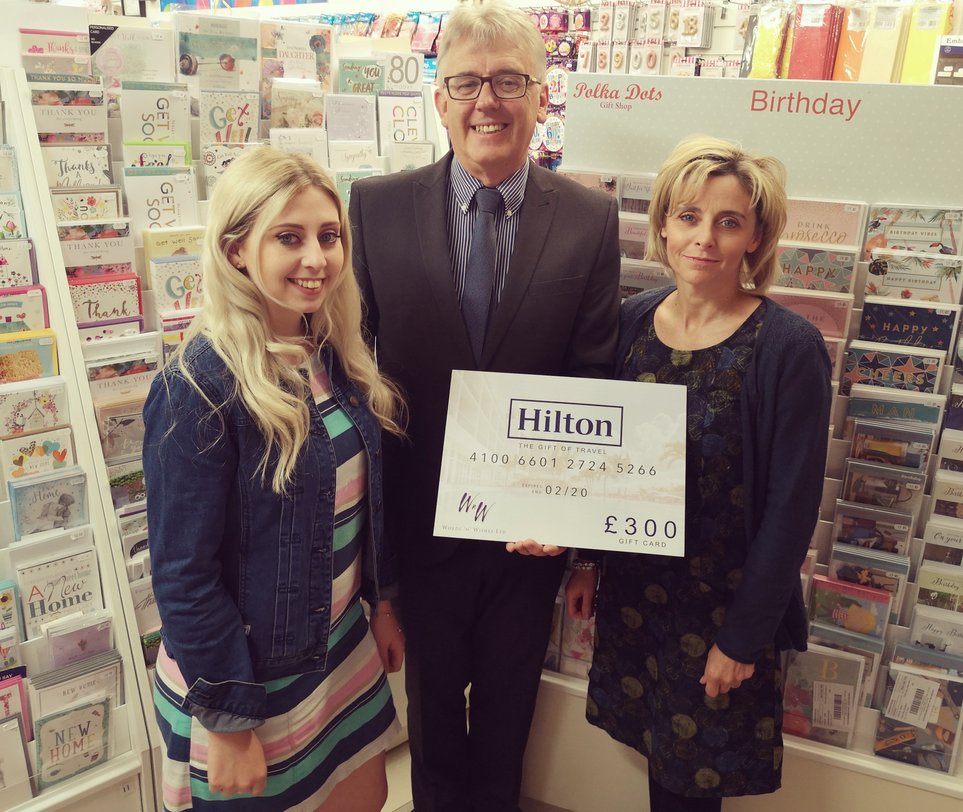 Above: Words 'n' Wishes prize of a £300 Hilton Hotel voucher was won by Cardgains member Polka Dots.