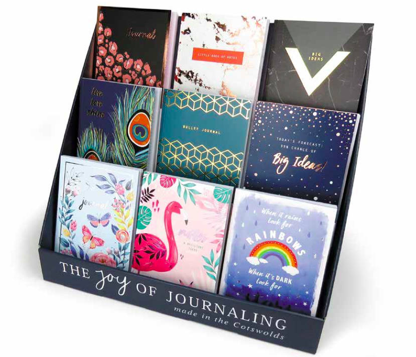 Above: The Joy of Journaling range in the countertop display unit.