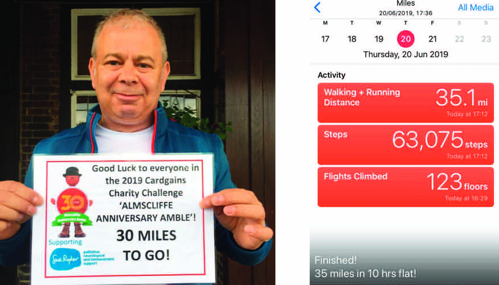 Above: House of Cards' Miles Robinson at the start and the proof he completed it!