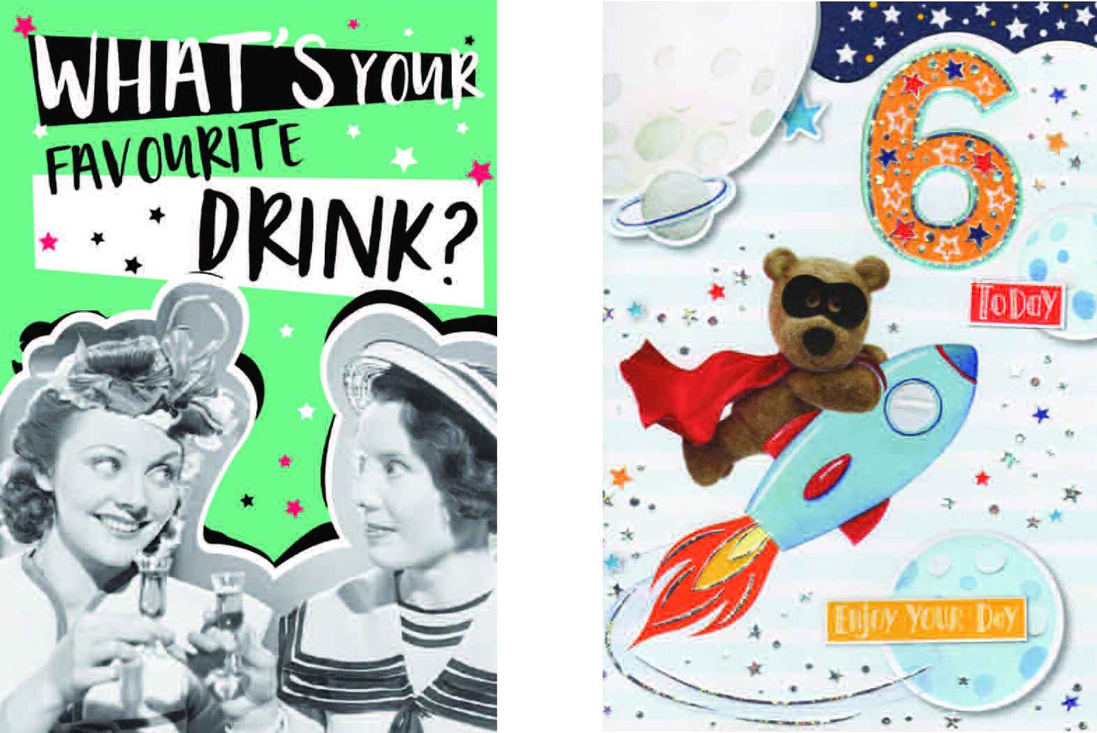 Above: A design from IC&G's new Just to Say humour range as well as a new Barley Bear juvenile age card from the publisher.