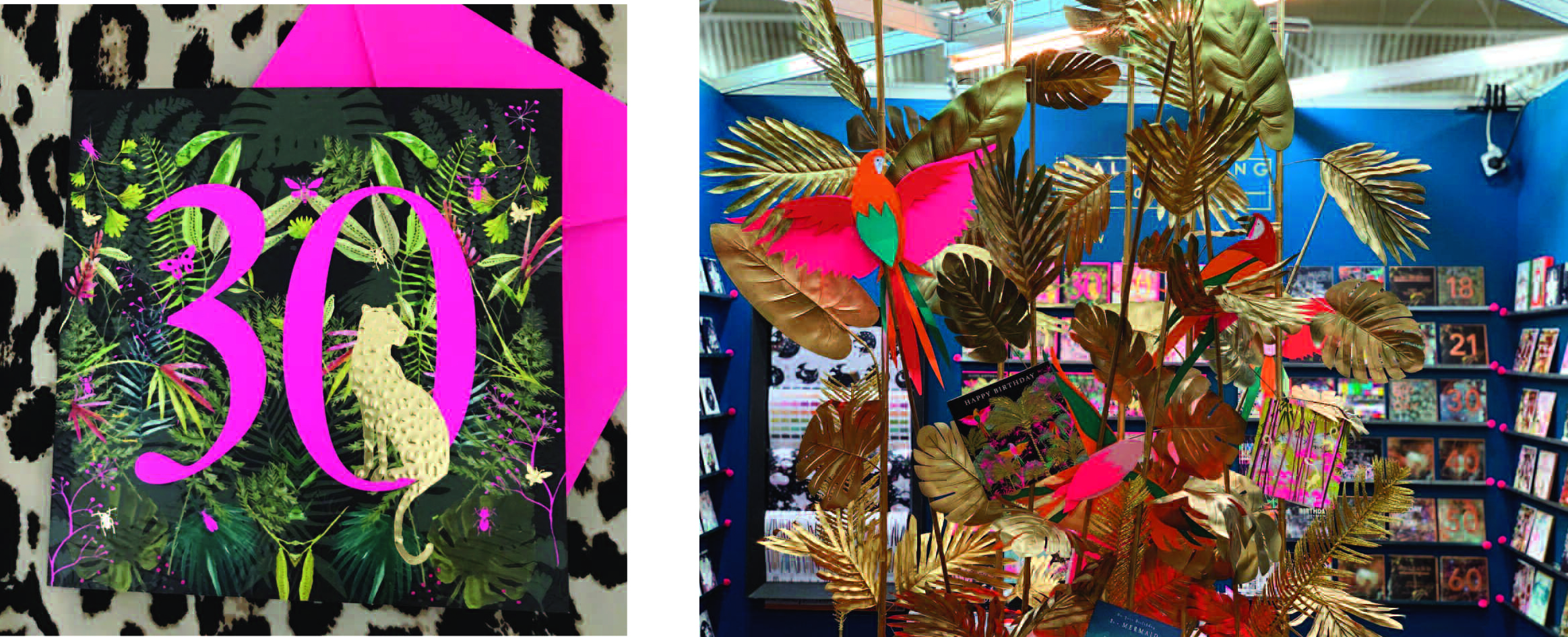 Above: One of the designs from Real & Exciting's Fleur Panache collection and the eye catching tropical centrepiece used on the stand that will be resurrected at Spirito.