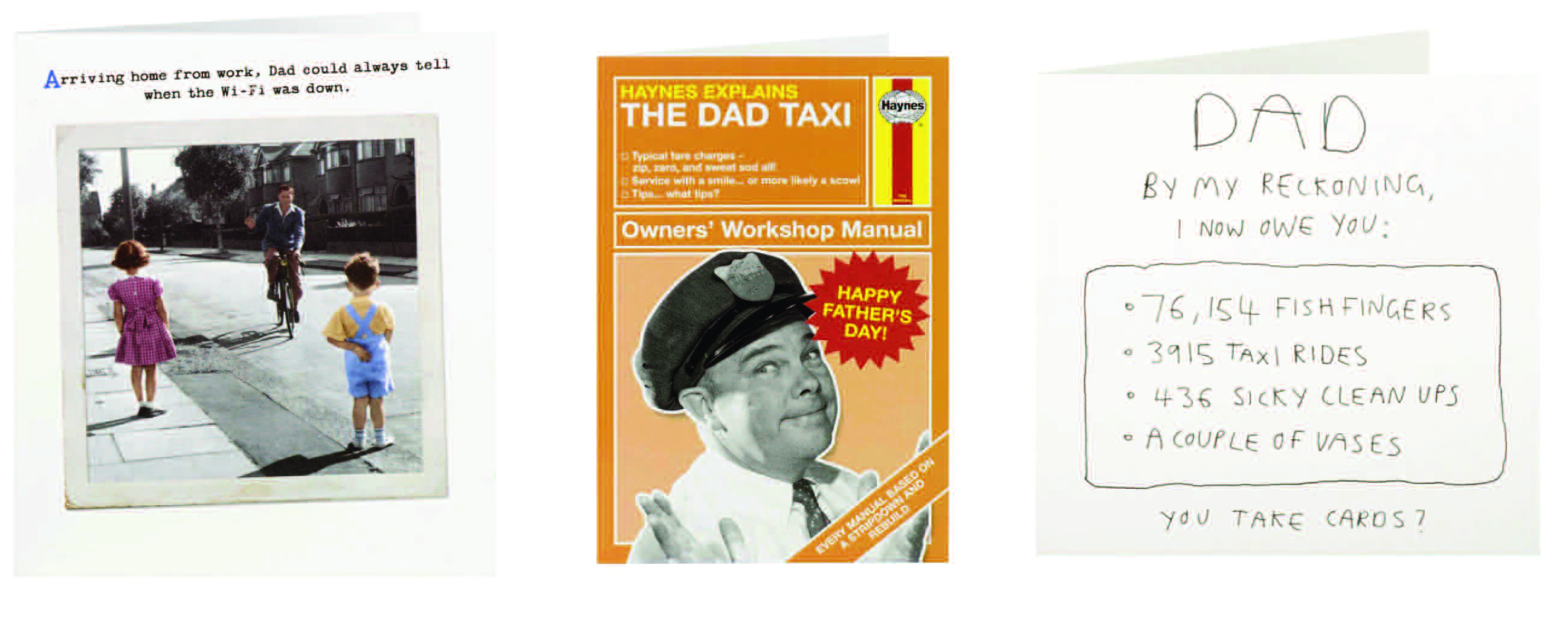Above: Three of the card designs being offered by Clintons to reflect the many roles dads have.