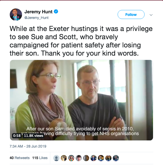 Above: The Twitter post that Jeremy Hunt put out after meeting with Sue and Scott Morrish in which the video was embedded.