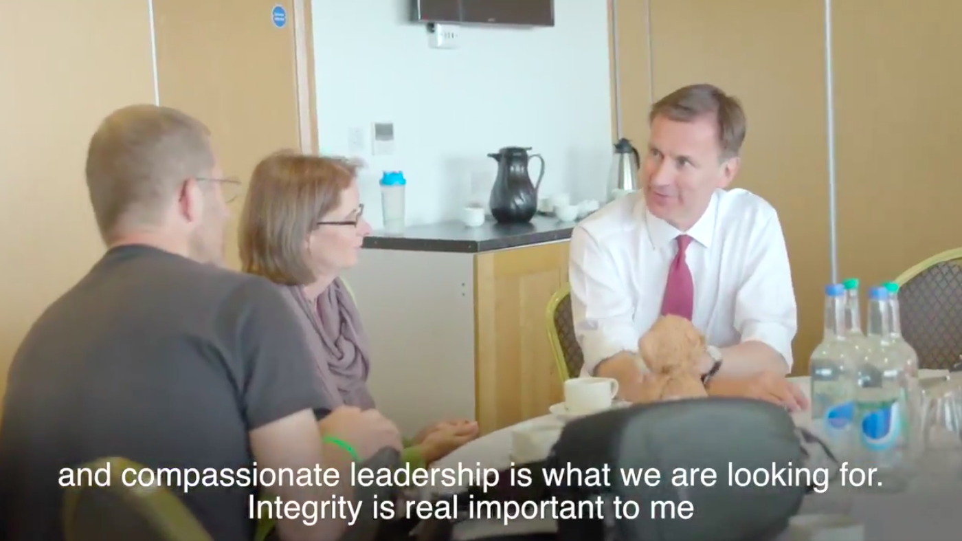 Above: Sue and Scott Morrish in dialogue with Jeremy Hunt.