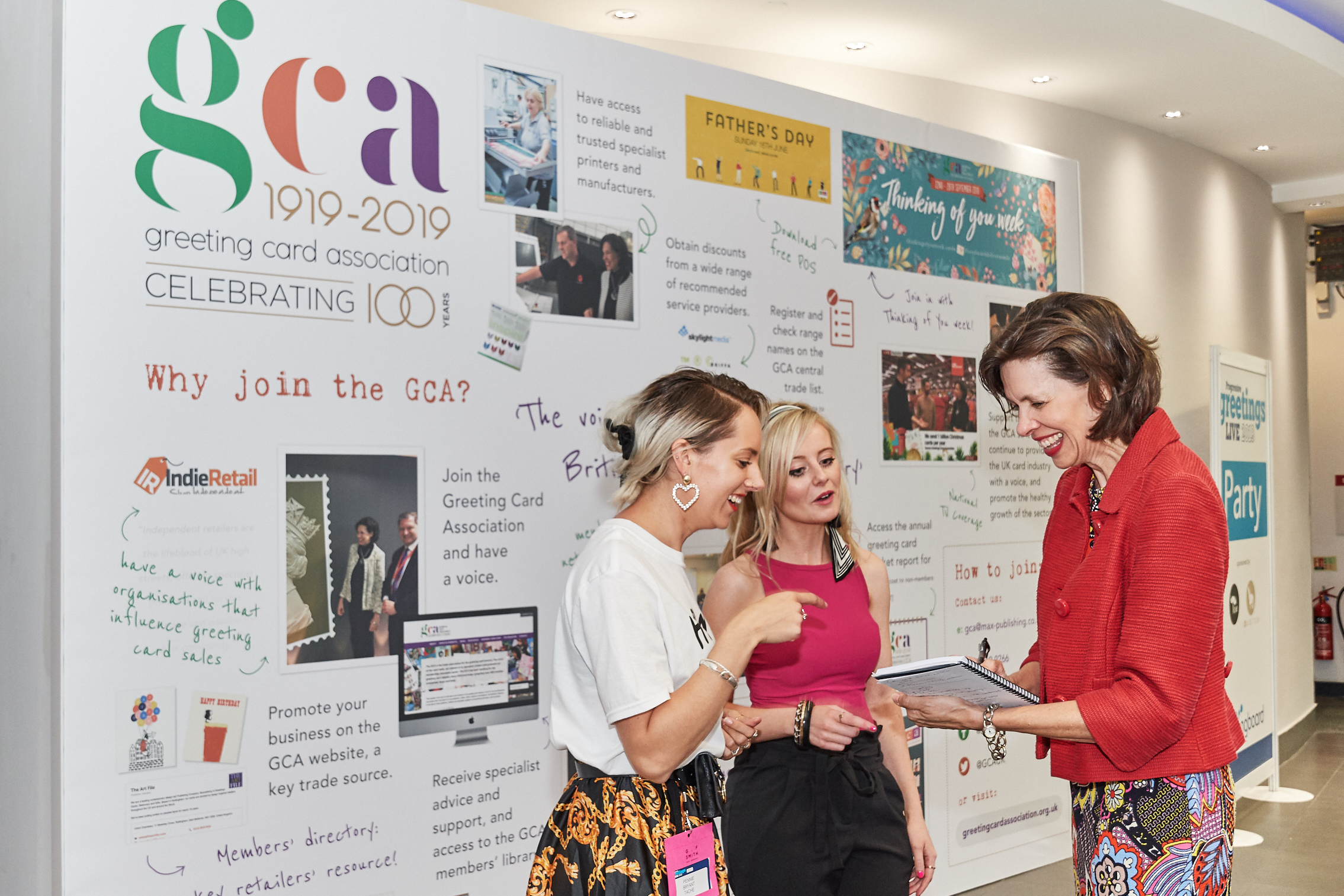 Above: Amanda Fergusson, ceo of the GCA (right) discussing the 100th anniversary plans at PG Live with Pennie Bryant of Tache and Louise Tiler of Louise Tiler Designs.