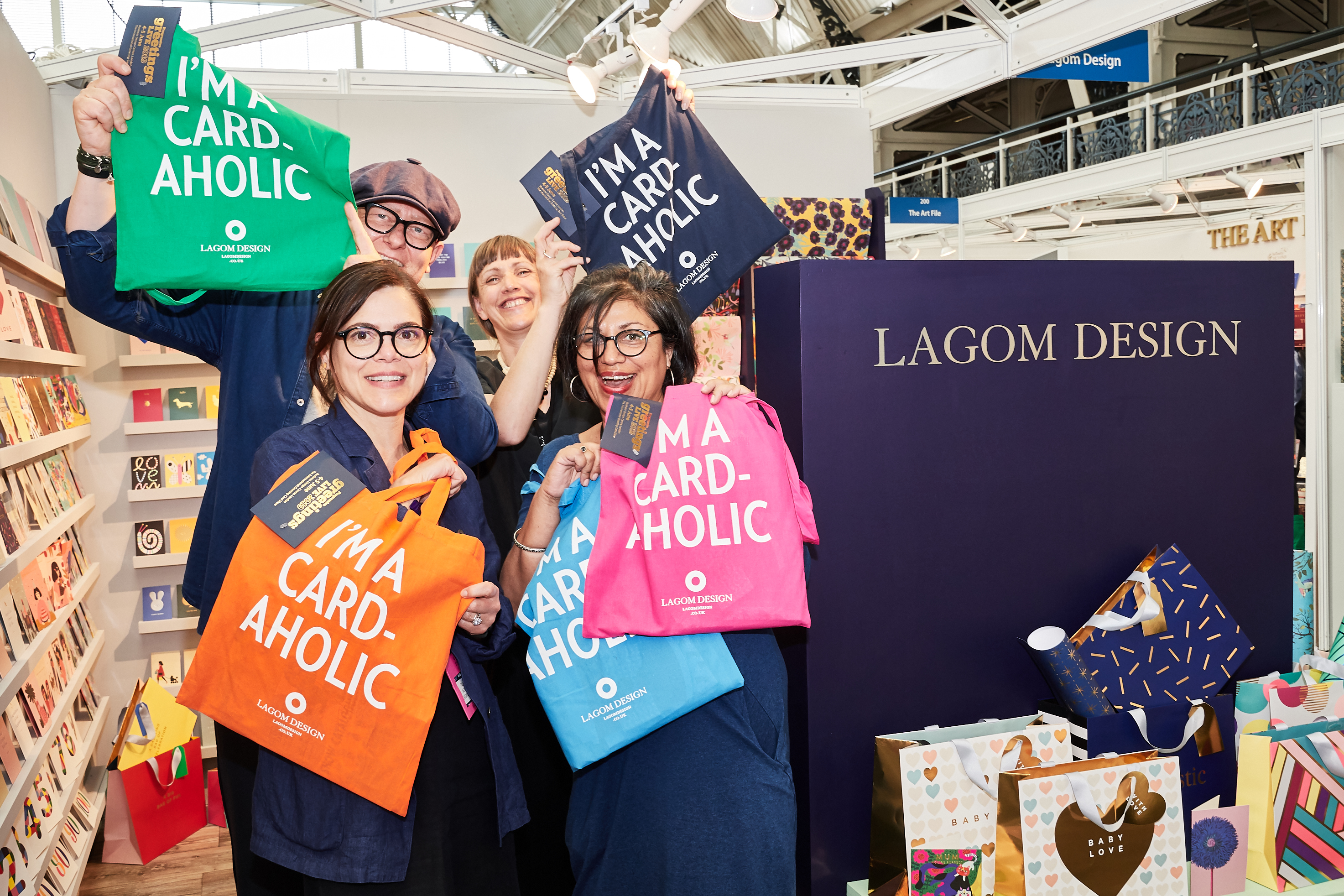 Above: Some of the Lagom team with a selection of the keepsake tote bag for PG Live.