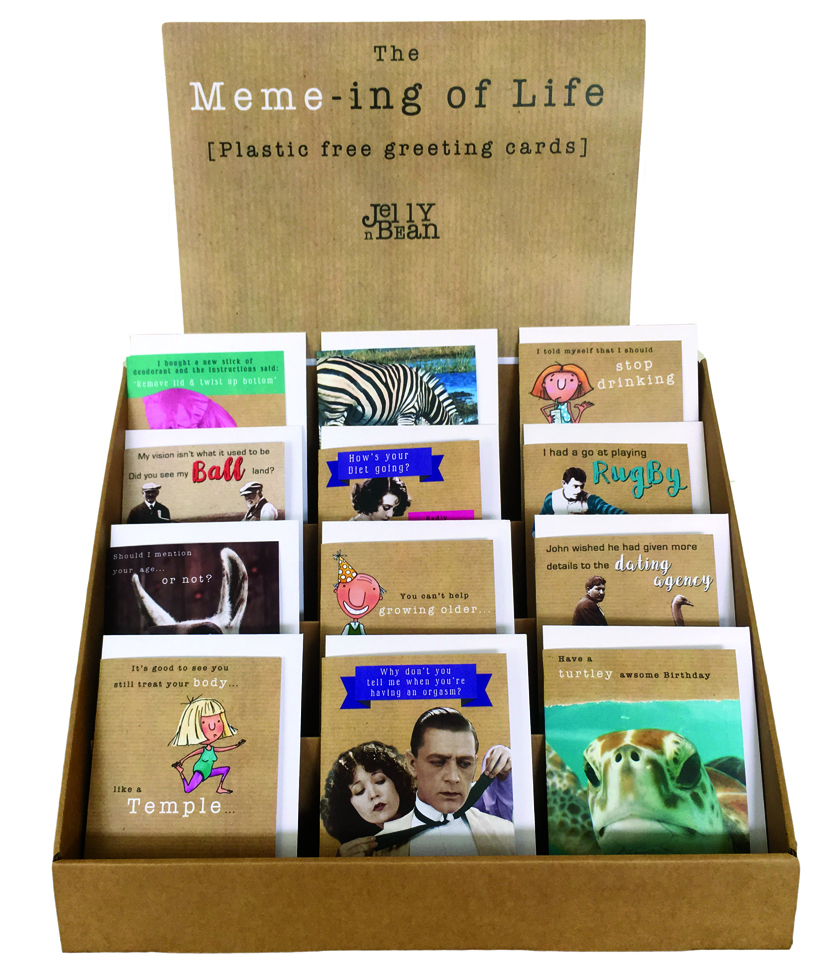 Above: The Meme-ing of Life is an extensive new collection of open humour cards from JellynBean that will launch at the show.