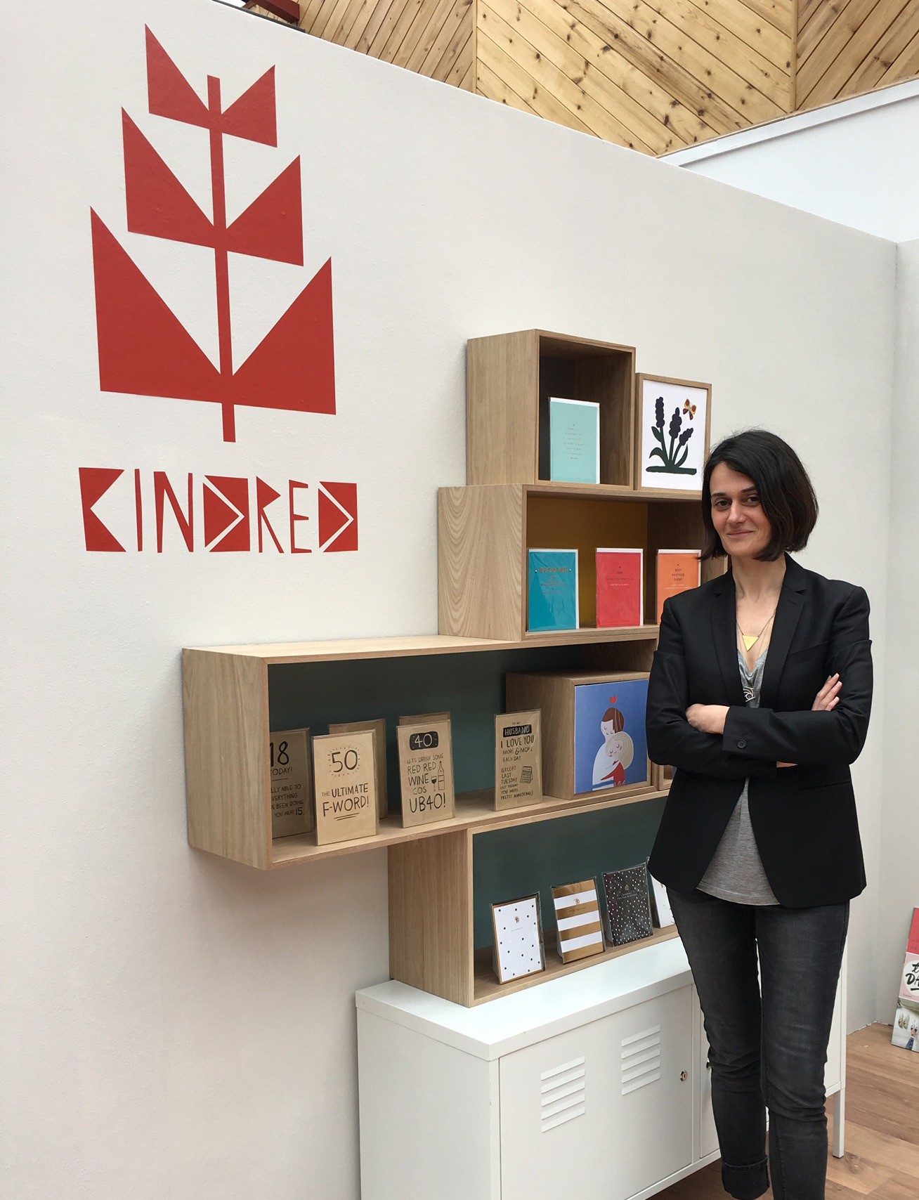 Above: UKG's Sandi Parisi with the company's Kindred brand, which has wellness and mindfulness influenced designs within its collection.