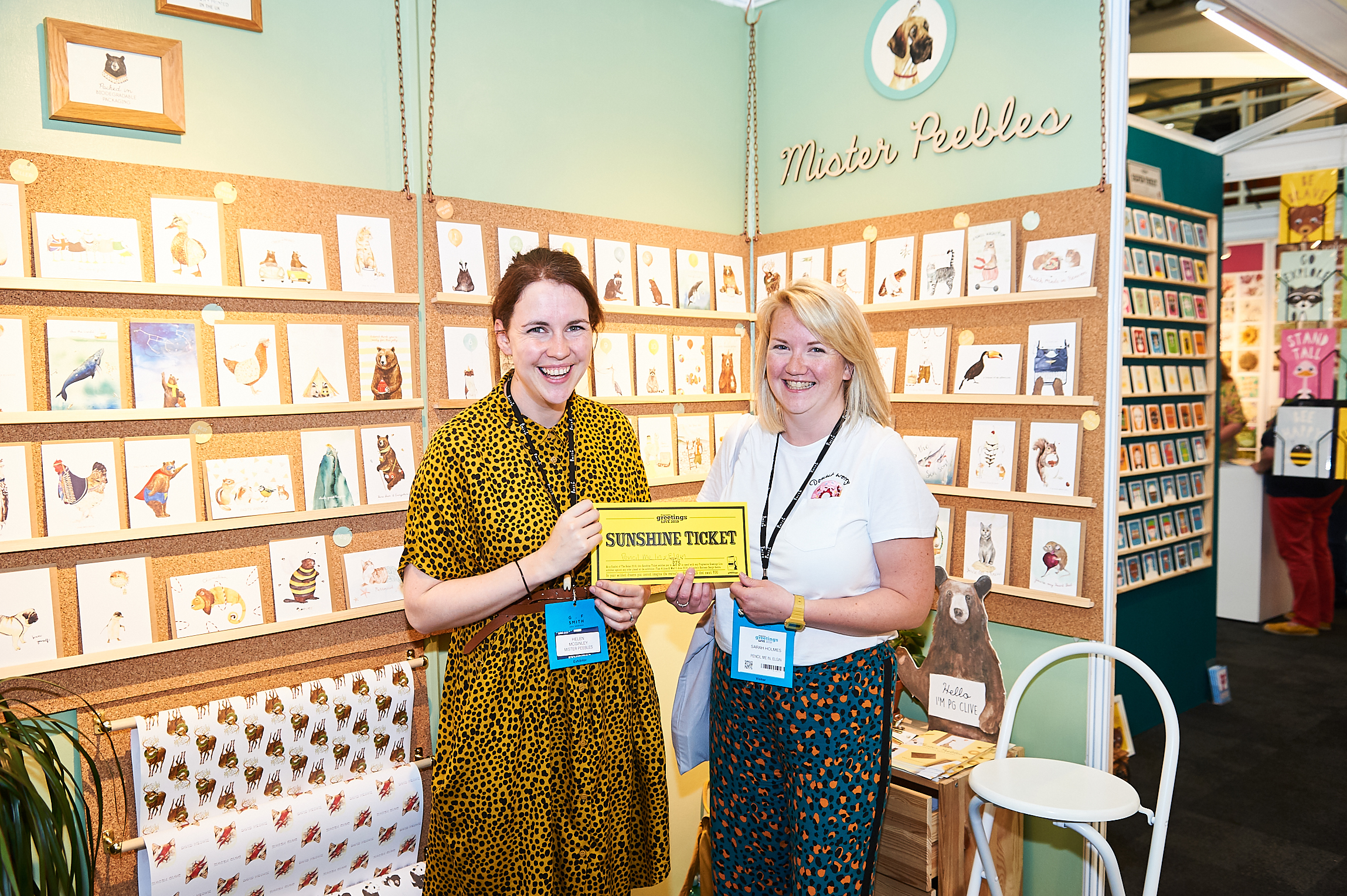 Above: Pencil Me In's Sarah Holmes (right) with Mister Peebles' Helen McGinley on the publisher's stand at PG Live.