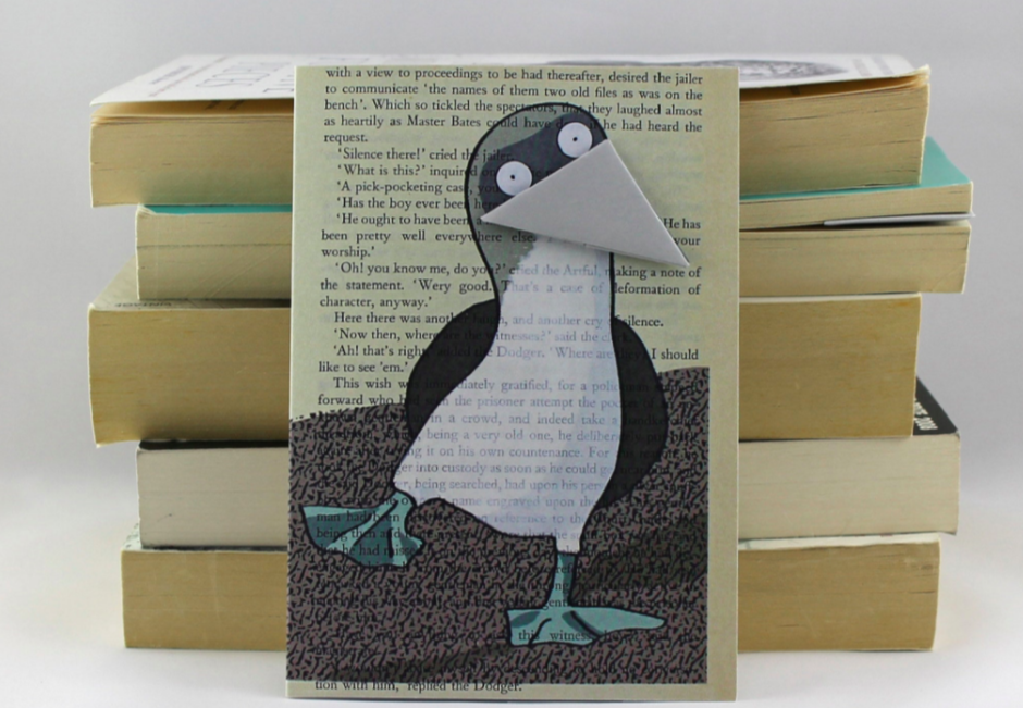 Above: The publisher's Bookmark card range upcycled used books with the bird's 'beak' being also able to be used as a page marker in a book.