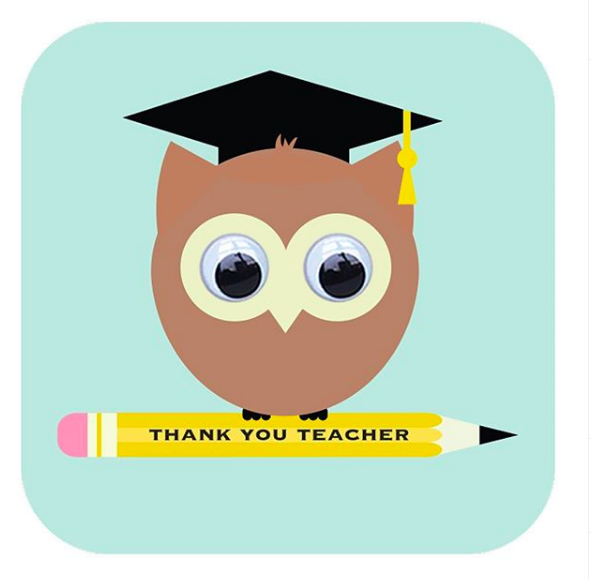 Above: A Thank You Teacher card from Stripey Cats.