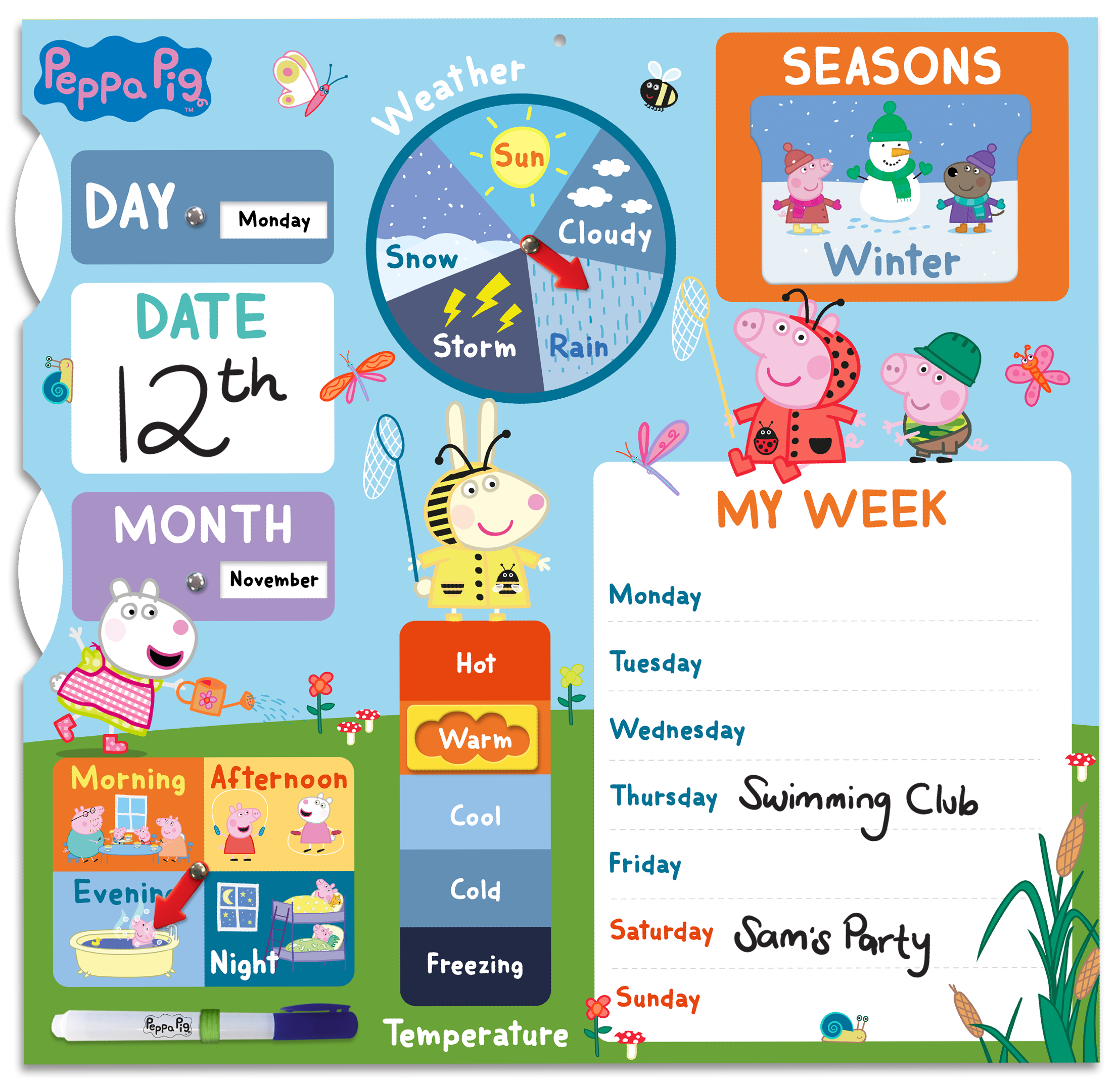Above: The use of well-known children's characters, such as Peppa Pig adds to the My First Calendar's interactive nature, building their vocabulary and communication skills as the testers shared their observations.