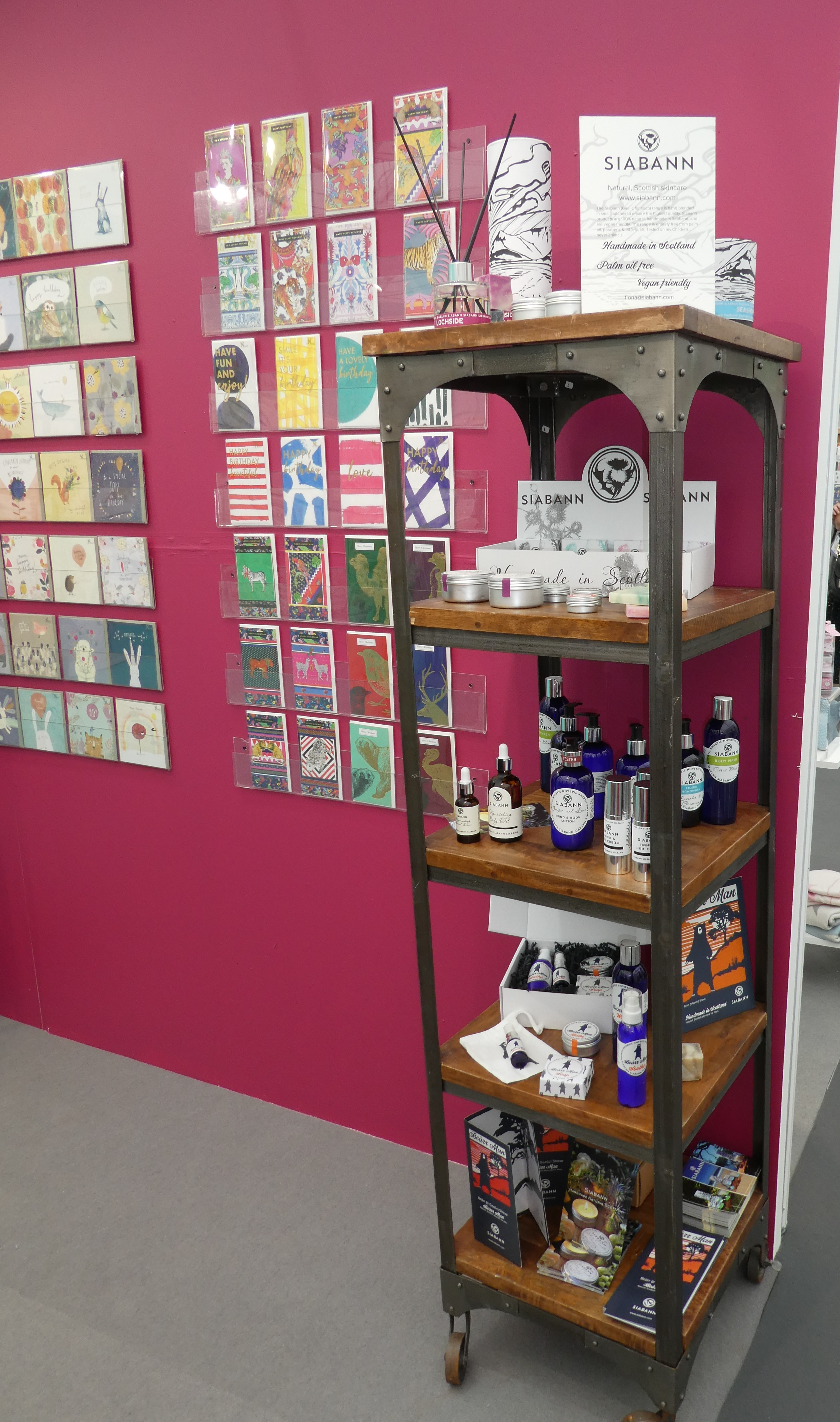 Above: Some Siabann Skincare products displayed on the Soul stand at the Harrogate show.