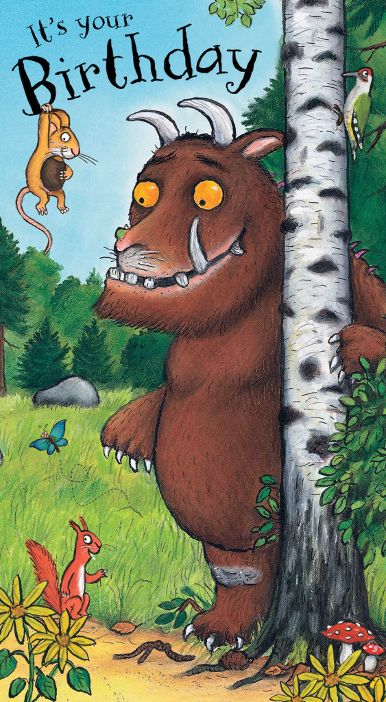 Above: A popular children's figure, the Gruffalo on a card from Danilo.