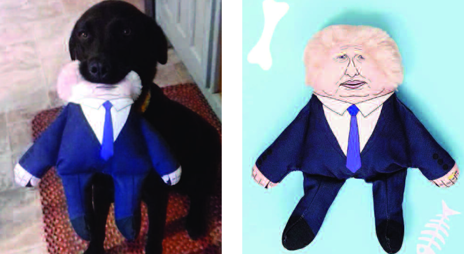 Above: A timely post on Scribbler's Instagram feed included a shot of a dog with a Boris Johnson dog toy in its mouth!