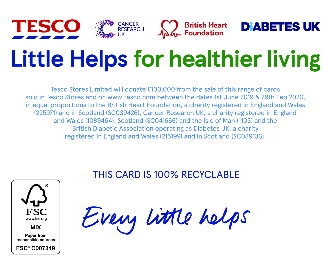 Above: The rear of the cards features all three charities' logos and explains the generous £100,000 donation the grocer is making as a result of the sale of the cards.