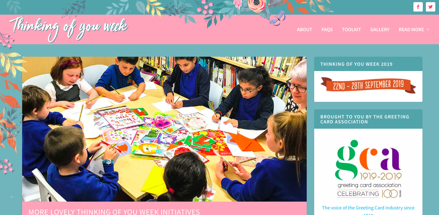 Above: The Thinking of You Week website includes images from previous activities, including how schools have got involved.
