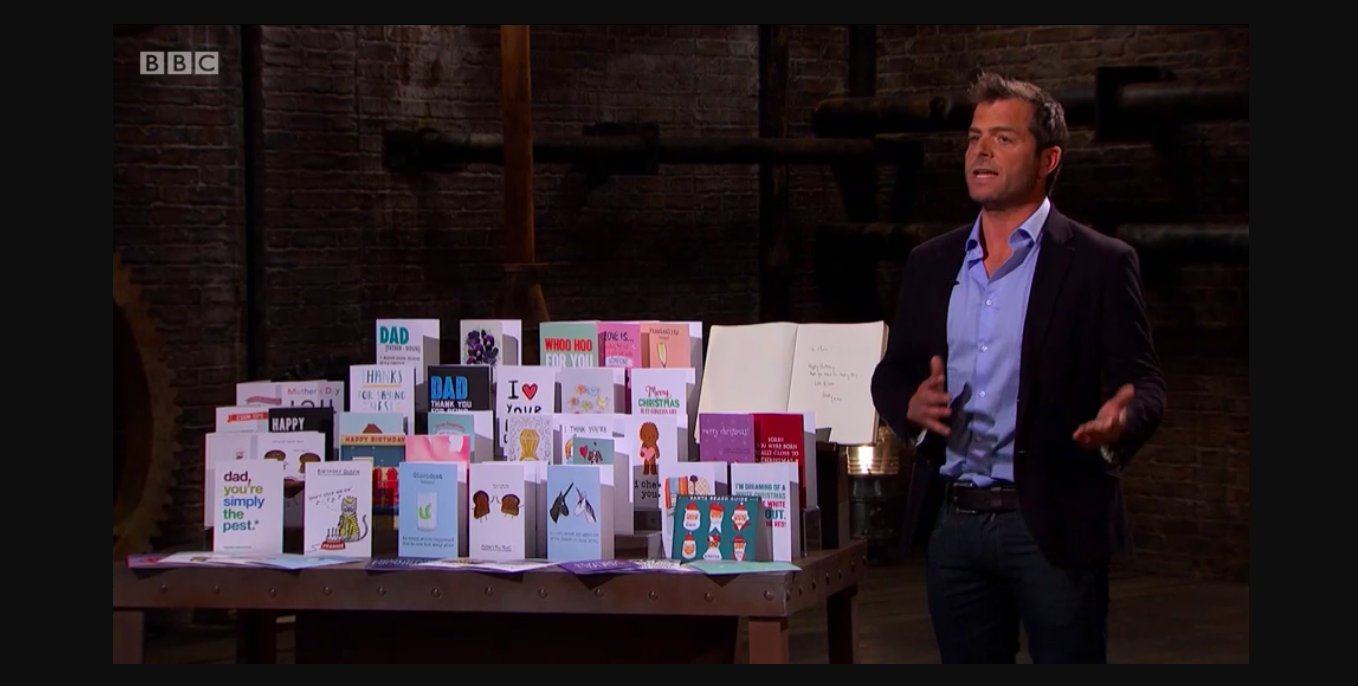 Above: Thortful's Andy Pearce pitching on Dragons' Den in 2017.