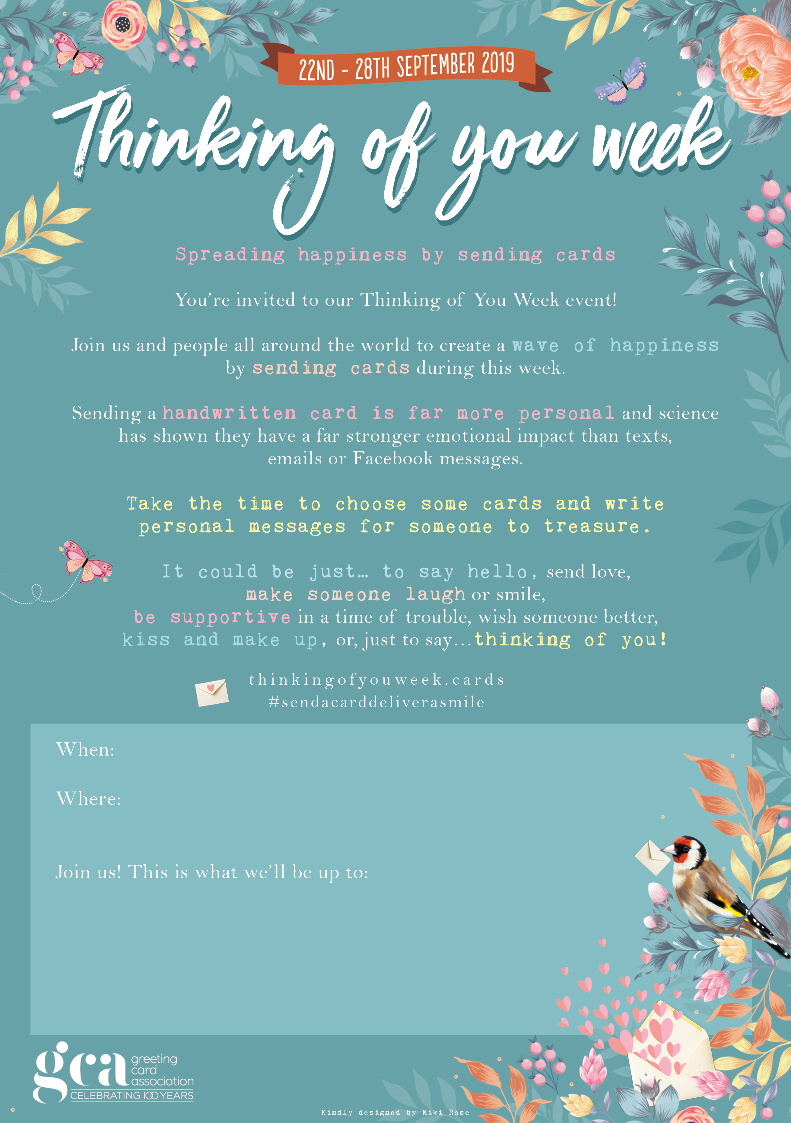 Above: The Thinking of You Week website has a number of 'tools' including a poster that can be used to publicise a card writing event.