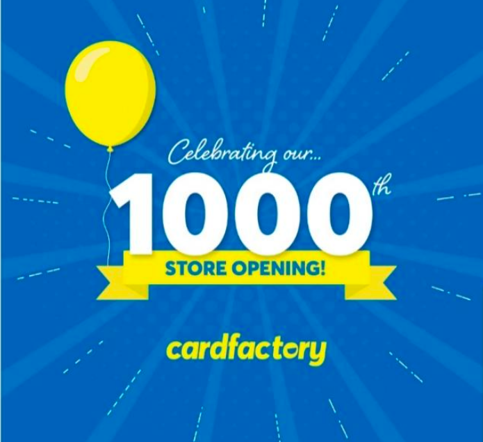 Above: Card Factory shouted about the milestone store on social media channels.