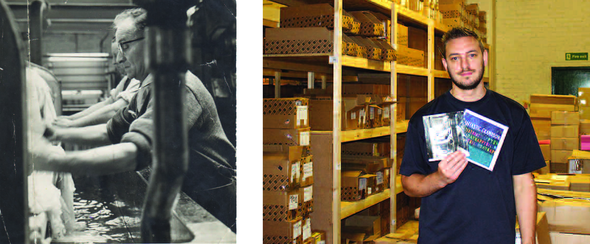 Above: Karen Wilson's grandfather working in the mill where Paper Salad is now based and her son Jack, who works for the card business in the exact same spot six decades on!