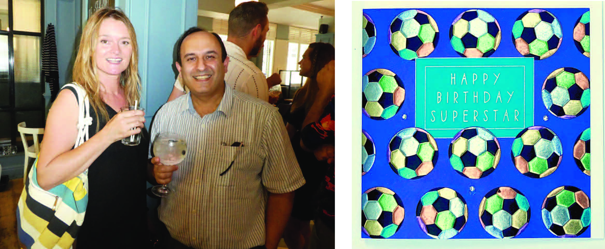 Above: Wendy Jones-Blackett with Raj Arora, md of Davora at a recent 'Northern publishers powerhouse' meet up in Manchester and the football design she created for the Hey Fresco range that incorporates many colours.