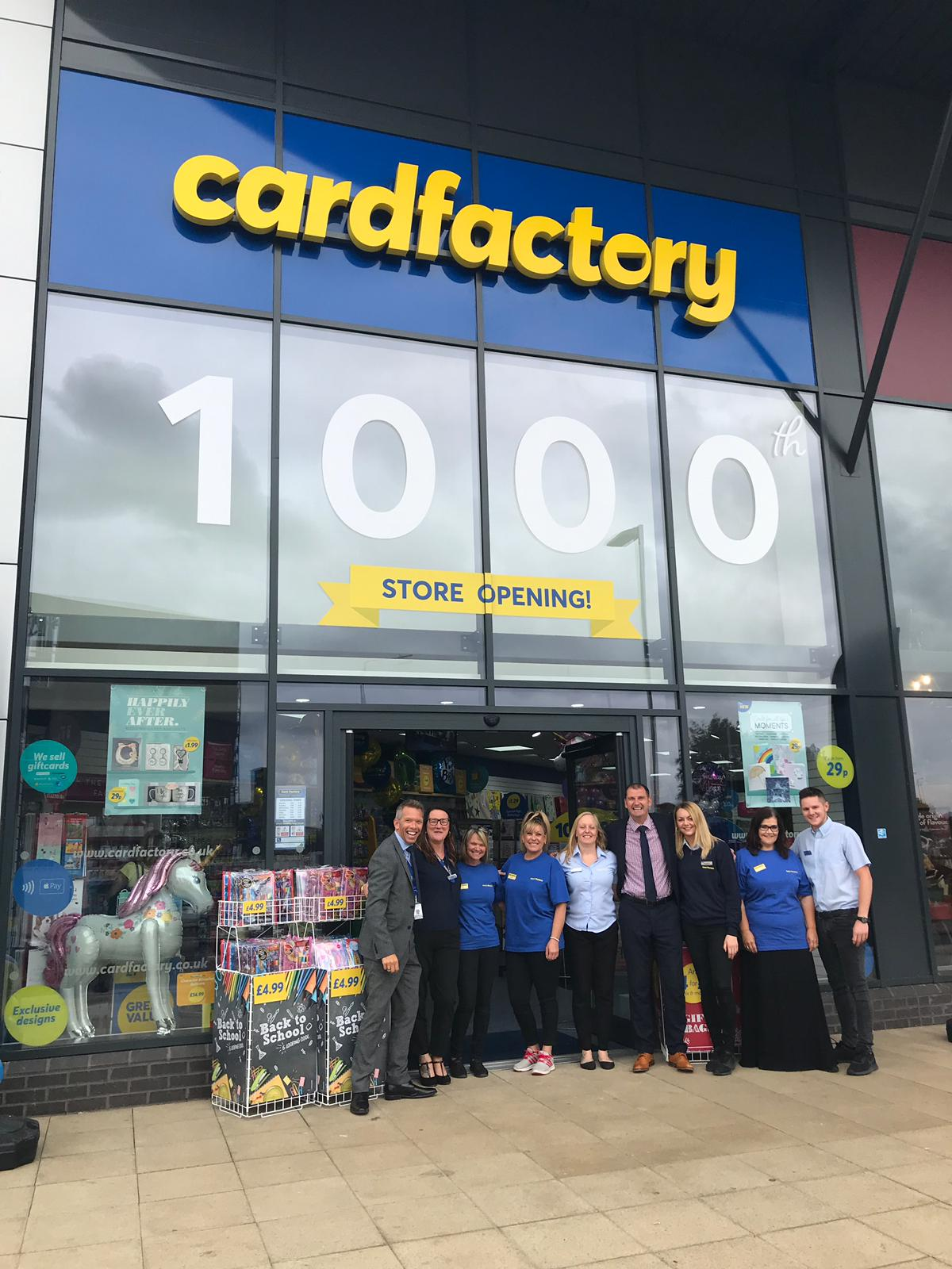 Above: Card Factory opened its 1000thstore recently.