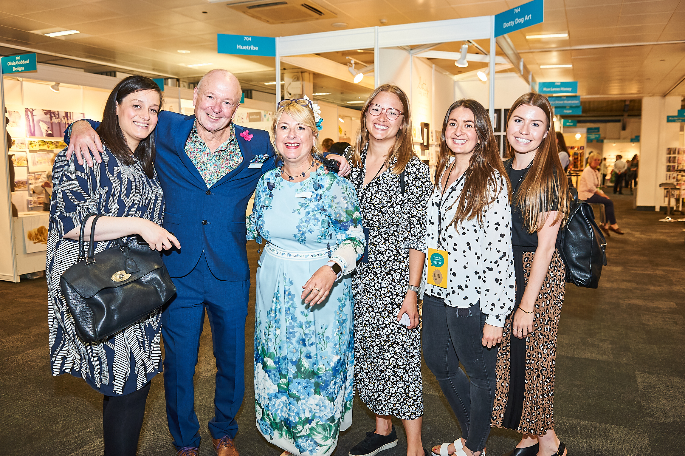 Above: Paperchase's head of buying, Tish Bas (far left) with colleagues Natalie Alexander (third right), Emma Clooney (second right) and Lucy Sumner (far right) with PG's Warren Lomax and Jakki Brown at PG Live.
