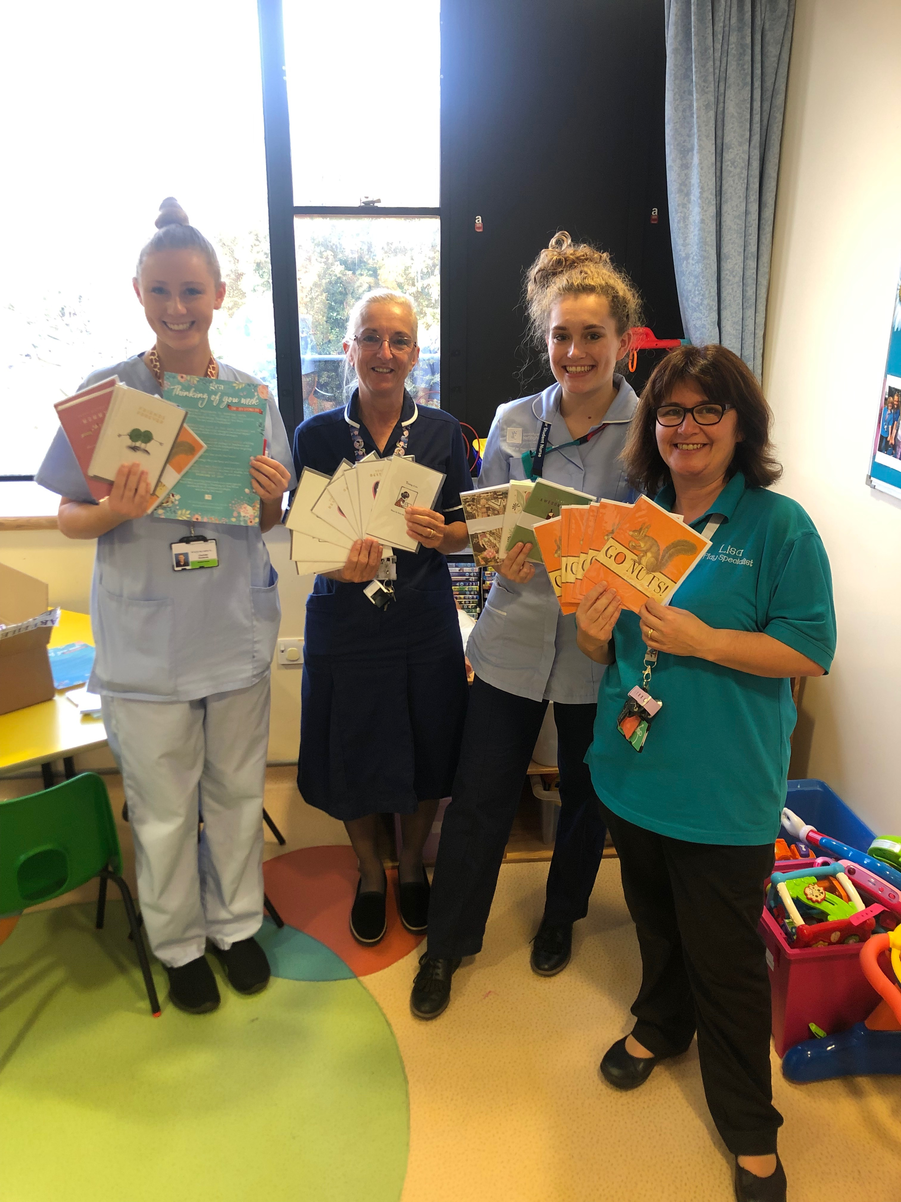 Above: Some of the nursing staff in Nottingham Children's Hospital who have been involved in The Art File's Thinking of You Week activity.