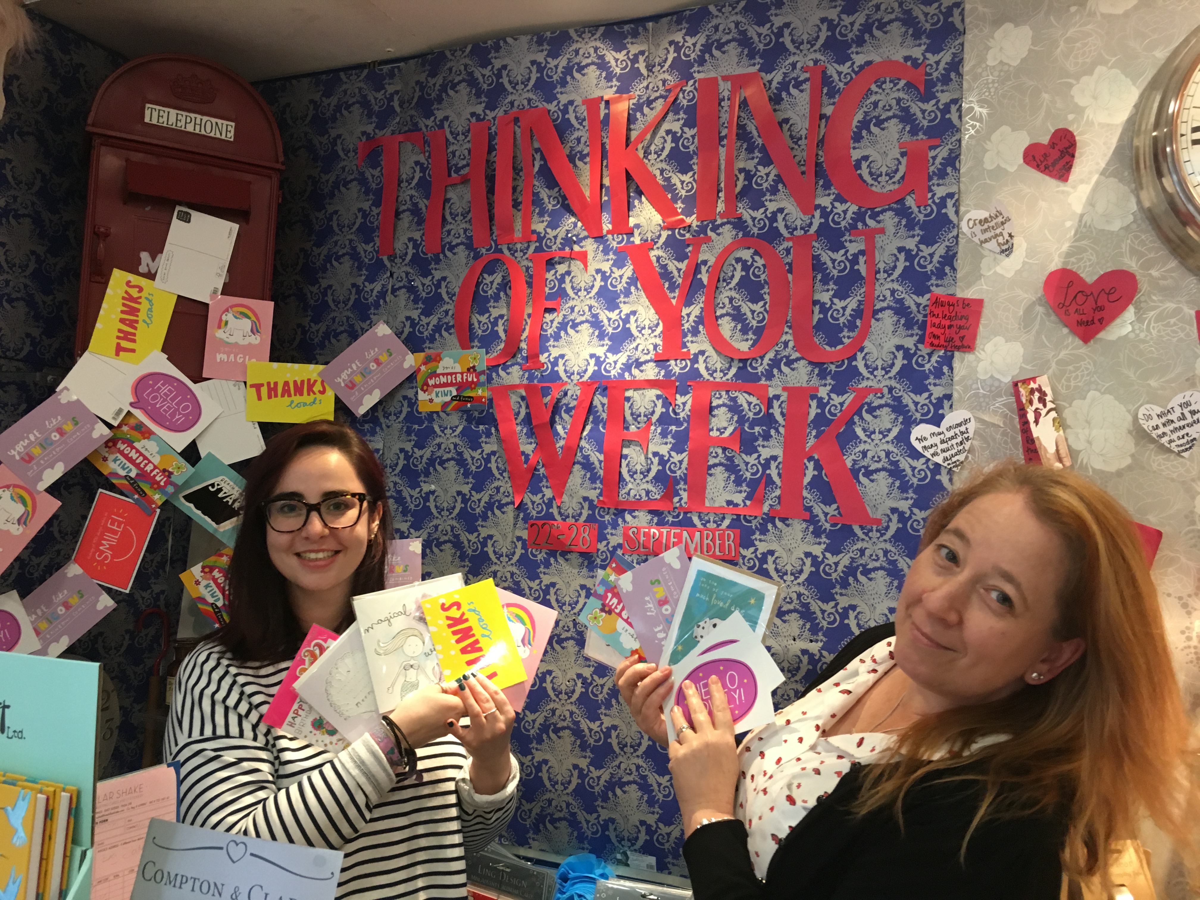 Above: Box of Delights' Olivia Ellingham, daughter of Michelle (right) and Lucy Marshall, near theThinking of You Week feature instore which saw Happy Jackson and The Happy News postcards (produced by Pigment) sold for 50p, with the proceeds going to Mind, the mental health charity.