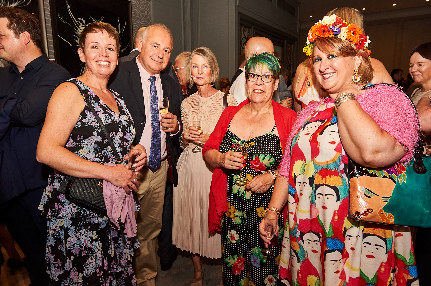 Above: (far right) Rosie Trow in Frida Kahlo mode at The Retas with customers (left-right) Cards 2 Confetti's Denise Keers and Nick O'Brien, Cilla & Camilla's Sally Ann Palmer and Nikki Weir.