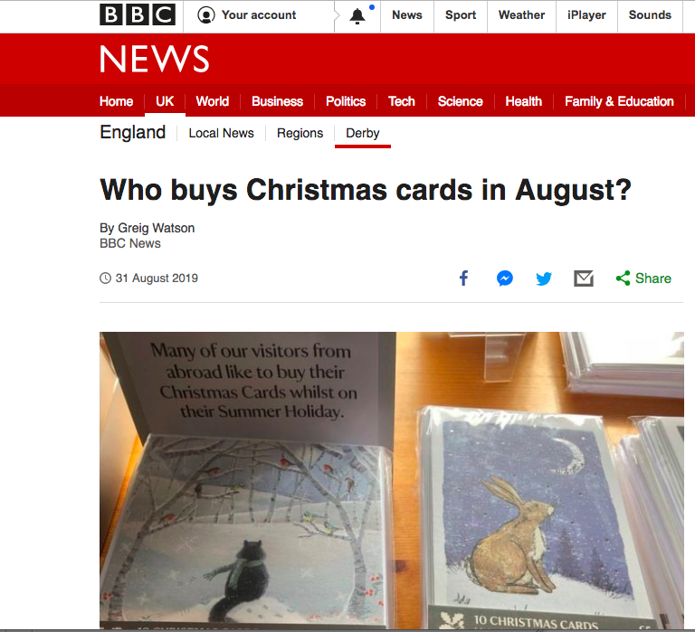 Above: The BBC News has highlighted the merits of Christmas cards going out on display early.