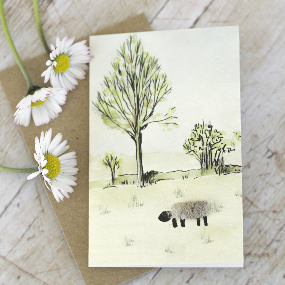 Above: Penny Lindop's cards are decorated with a little tuft of sheep's wool.