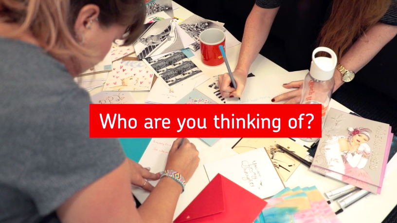Above: A Thinking of You Week card writing initiative was filmed by Royal Mail and shared on social media.