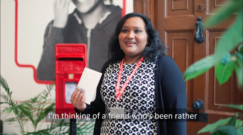Above: This Royal Mail employee explained how she was sending a card to a friend who could do with cheering up.