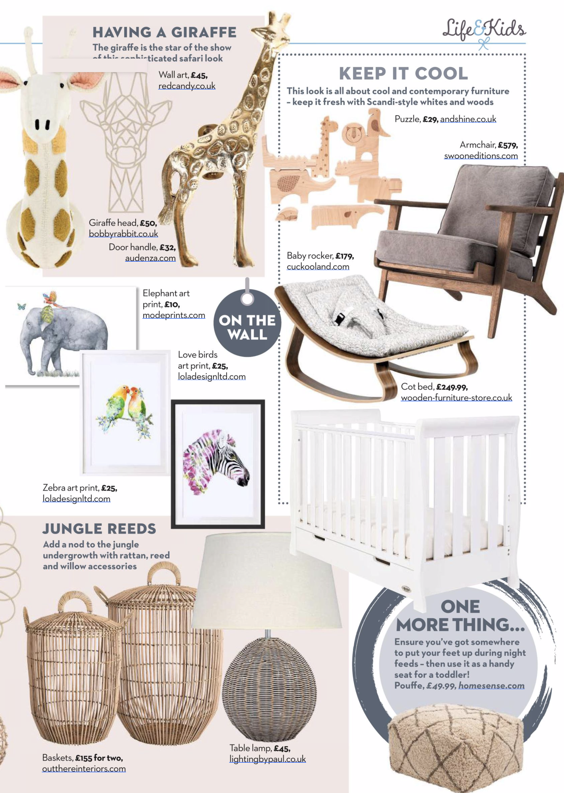 Above: Mother and Baby magazine is just one of the publications to have featured Lola Design products recently.