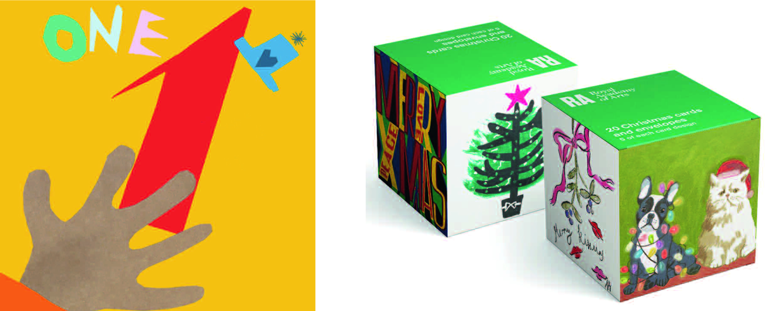 Above: Numero is Poet and Painter's first children's card range (left) and ArtPress will be showcasing its Royal Academy Christmas boxes (right).