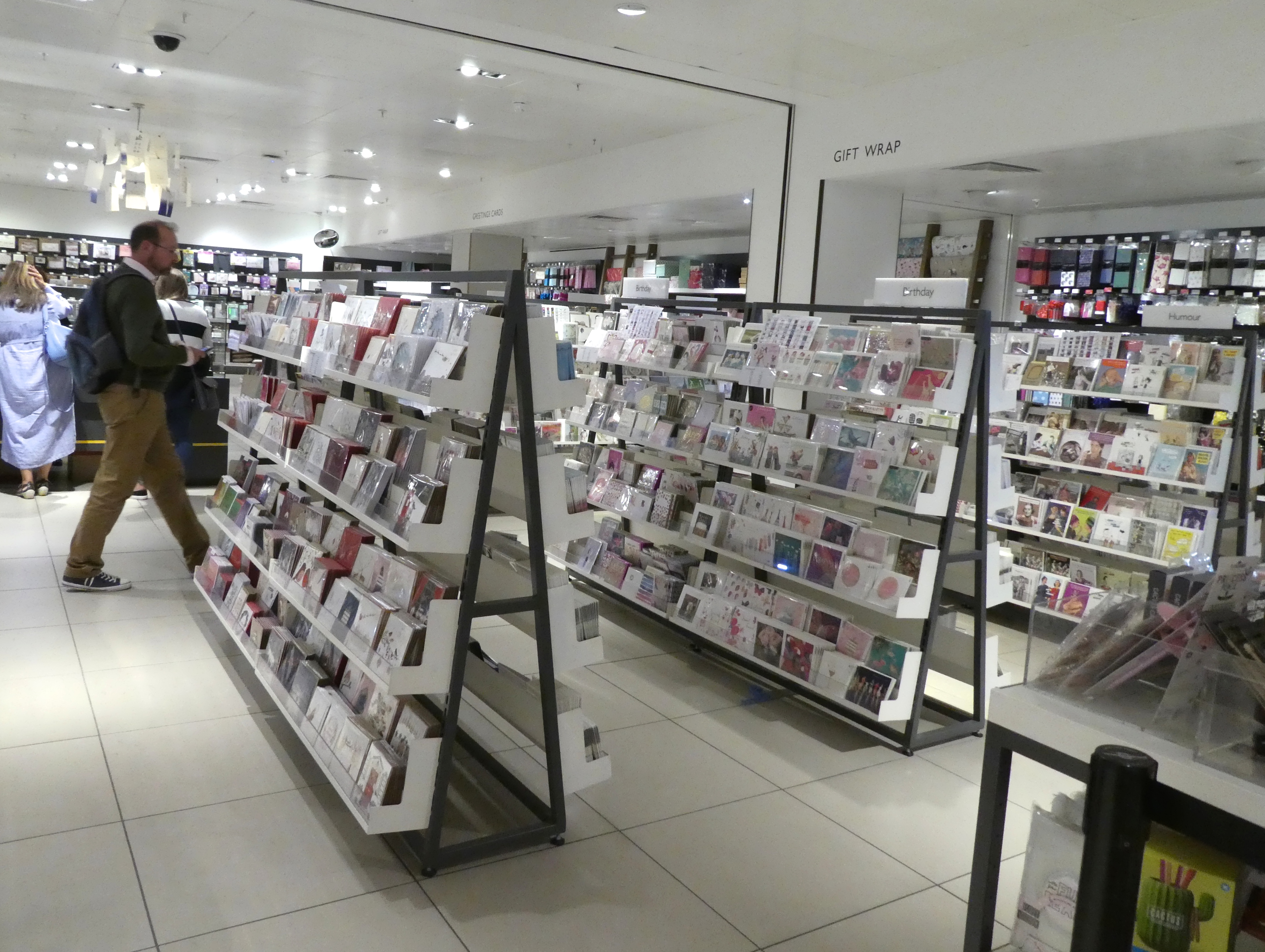 Above: The card department in John Lewis' Oxford Street store.