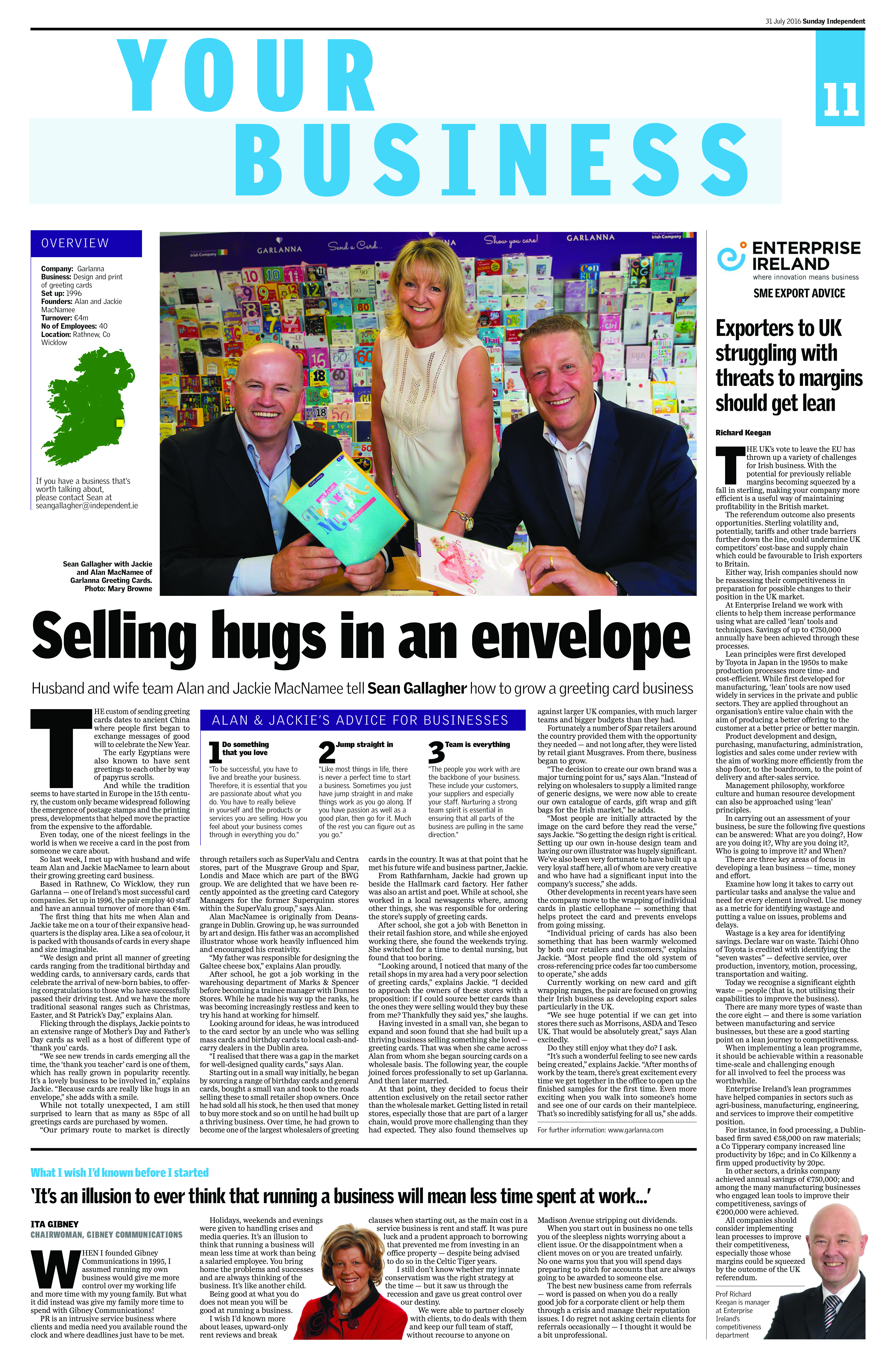 Above: The growth of Garlanna has attracted the attention of the Irish press, including the Sunday Independent.