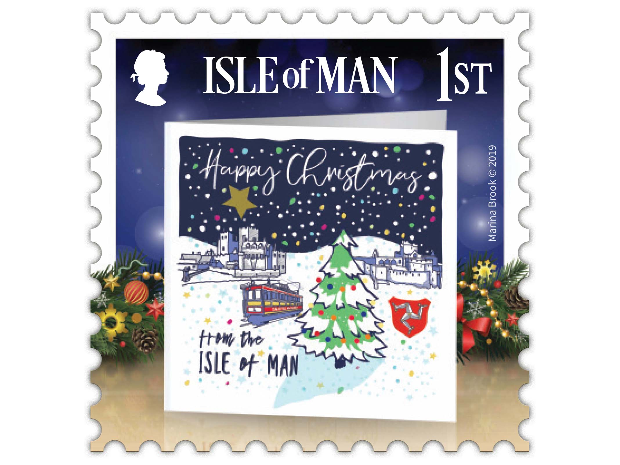Above: While, in keeping with the brief, the other stamps feature existing Christmas card designs, Marina Brook of Marina B Designs created this design specifically with an Isle of Man theme.