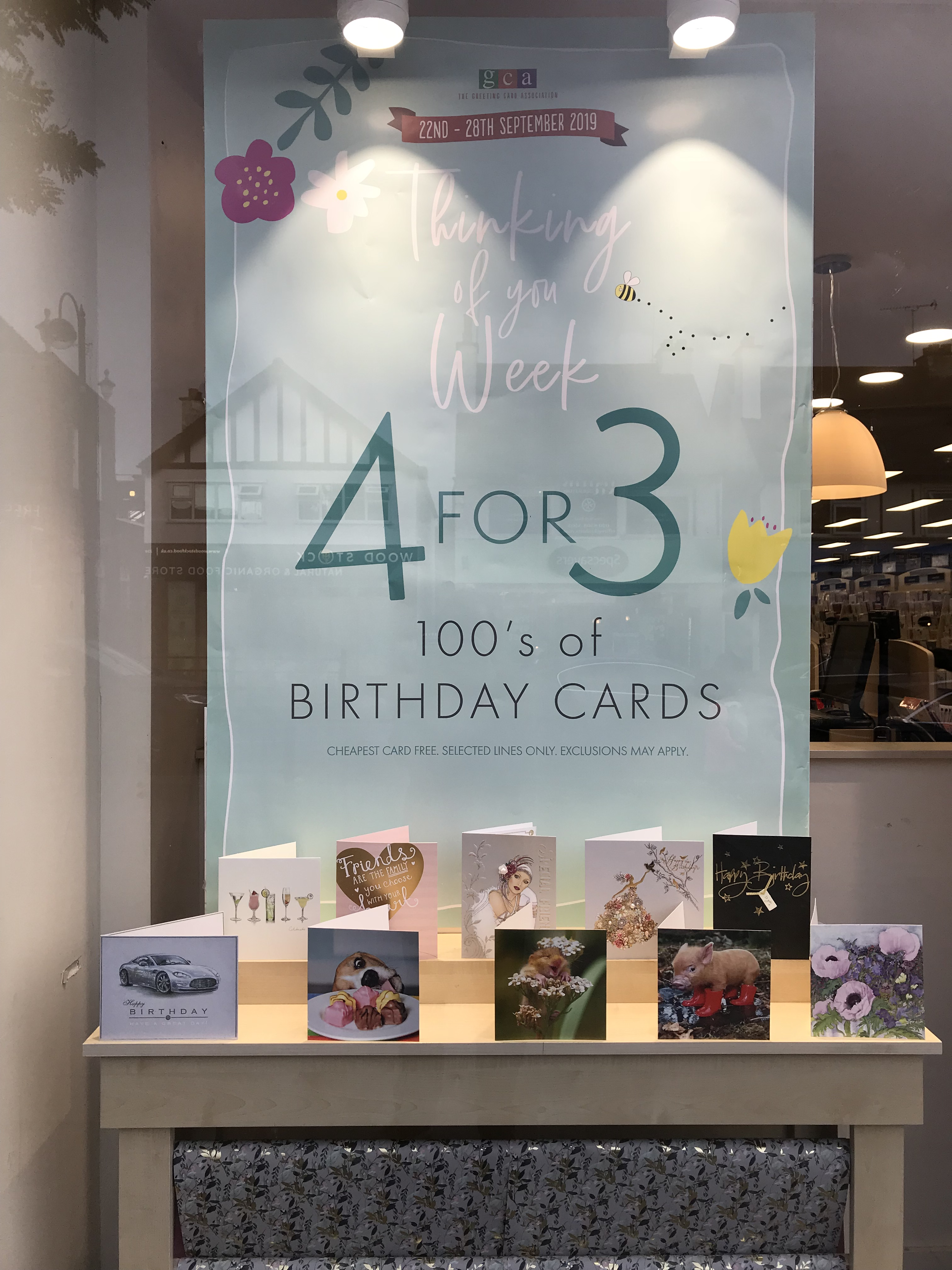Above: Clintons got behind the recent Thinking of You Week, with a special '4 for 3' offer on many everyday cards.