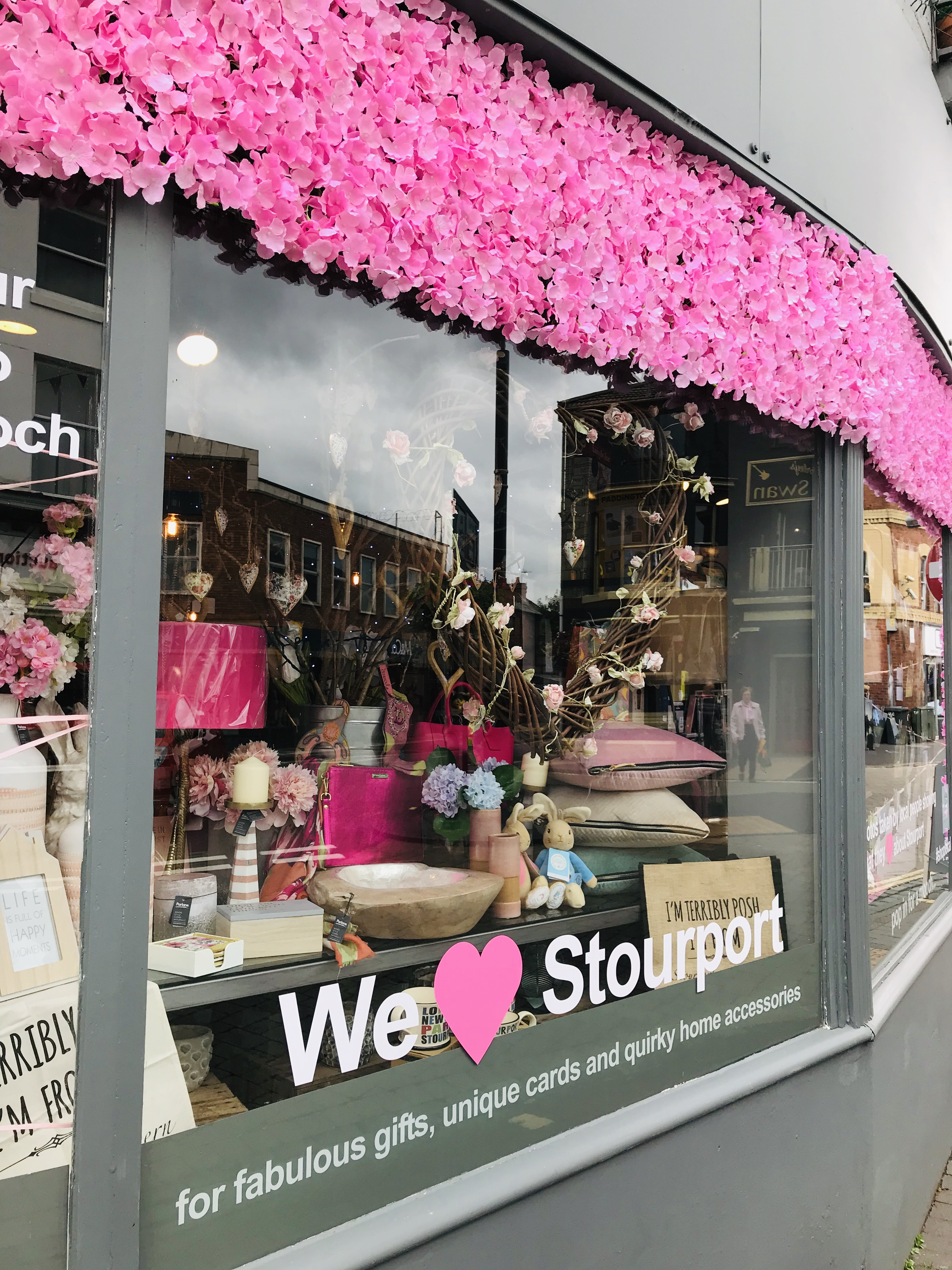 Above: Mooch launched a 'We love Stourport' initiative in its windows.