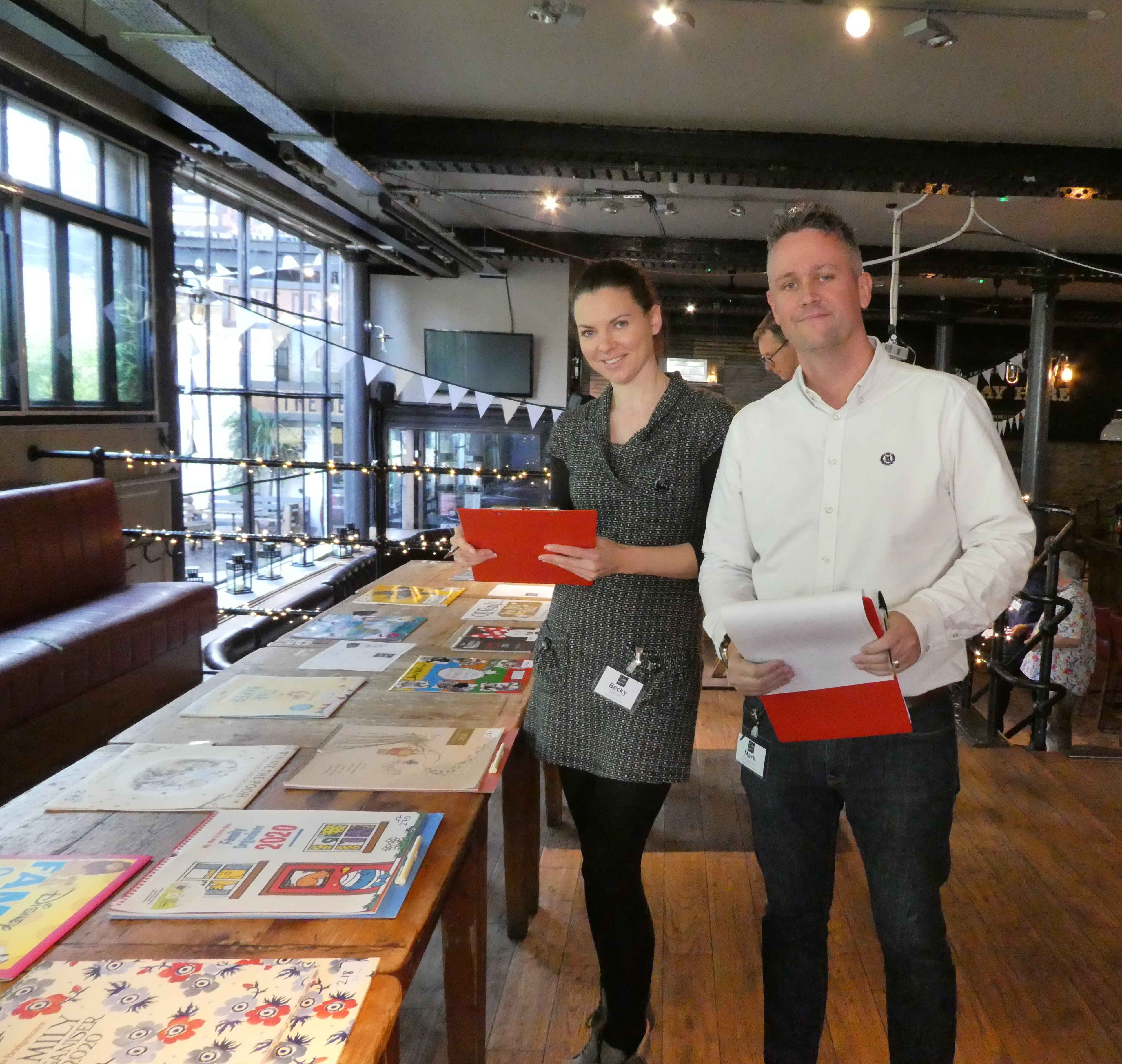Above: Calendar Club's Becky Salter with Max Publishing's Mark Grayson.