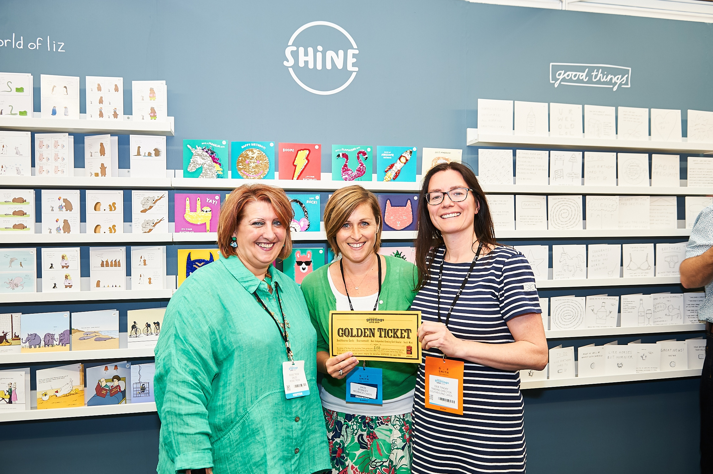 Above: Southbourne Cards' Deborah Tingay (right) with Redback Cards' Kate Stanley (centre) and agent Rosie Trow at PG Live.