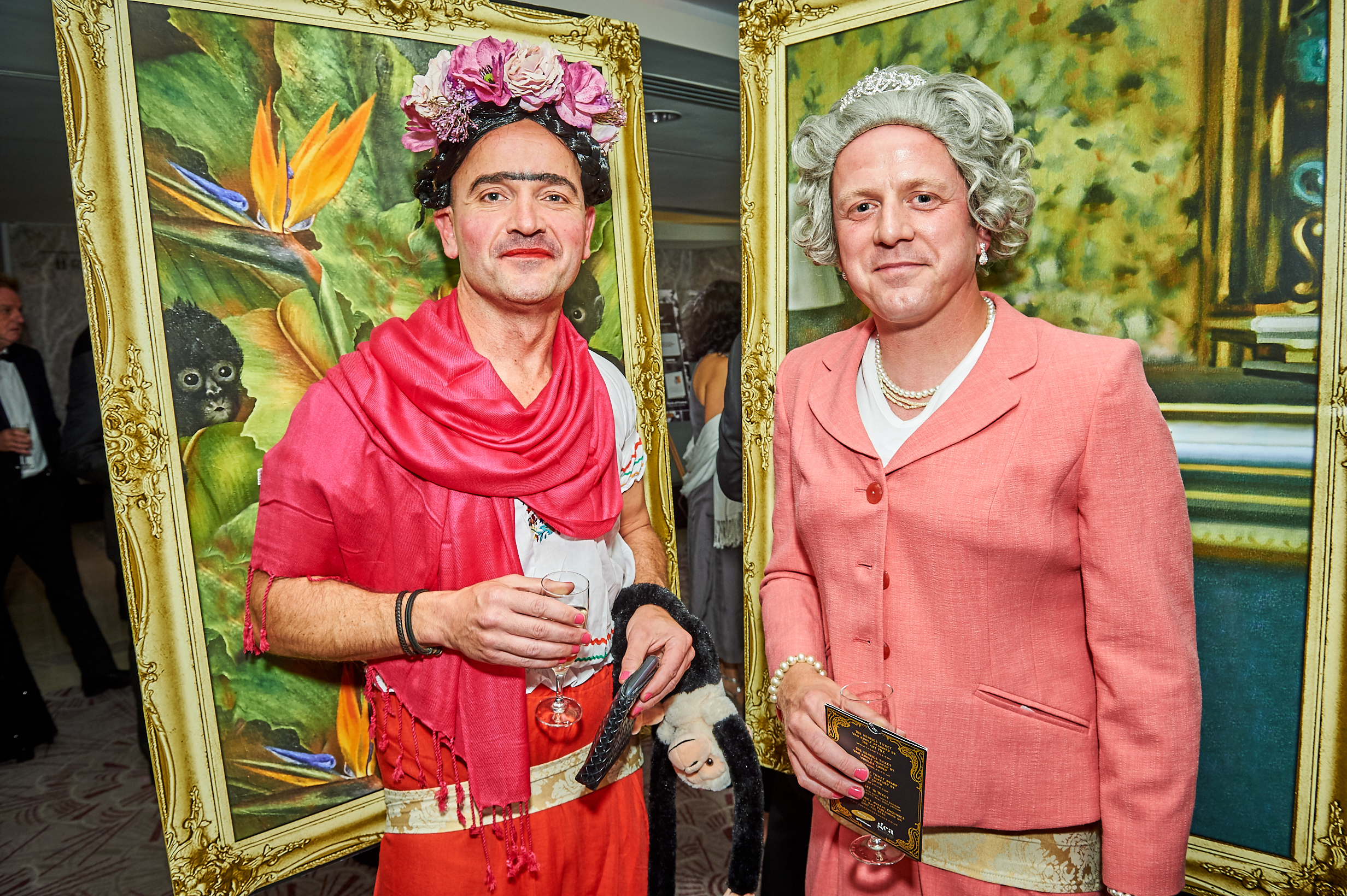 Above: Legends in their own lifetime, the Brainbox Candy boys, as ever, were 'in the frame' to stand out with Ben Hickman coming as the Queen and Mark Williams adopting a Frida Kahlo persona.