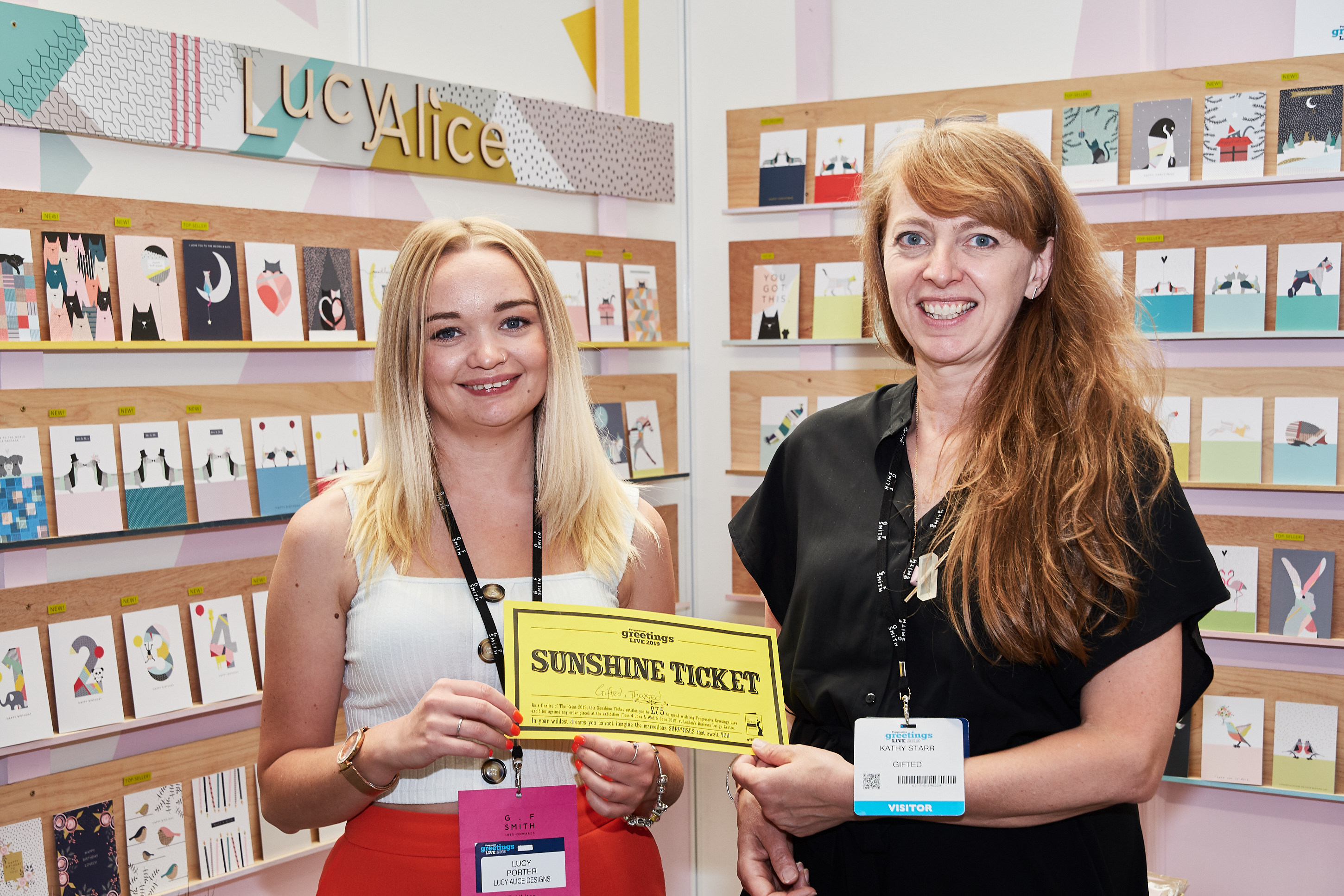 Above: Gifted's Kathy Starr (right) spending her Sunshine Ticket with Lucy Porter of Lucy Alice at PG Live.